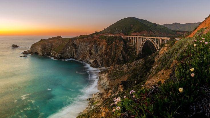 Скачать обои Биг-Сур, мост, California, Pacific Ocean, Big Sur, побережье, Мост Биксби, Bixby Bridge, океан, Калифорния, Тихий океан, раздел пейзажи в разрешении 1920x1080