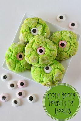 DIY Halloween Party Ideas. One eyed, green monster cookies! Aaaaahhhh