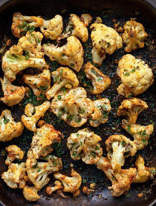Roasted Cauliflower with Punjabi Seasonings from Madhur Jaffrey's Curry Easy Vegetarian