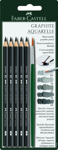 Faber-Castell Water-Soluble Graphite Pencil Set of 5 with Paintbrush