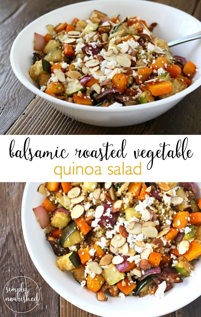 Balsamic Roasted Vegetable Quinoa Salad | A beautiful and tasty side-dish that pairs nicely with grilled chicken or fish. This salad can also be enjoyed cold. Leftovers make for a perfect next days lunch. | http://simplynourishedrecipes.com/balsamic-roasted-vegetable-and-quinoa-salad-recipe/