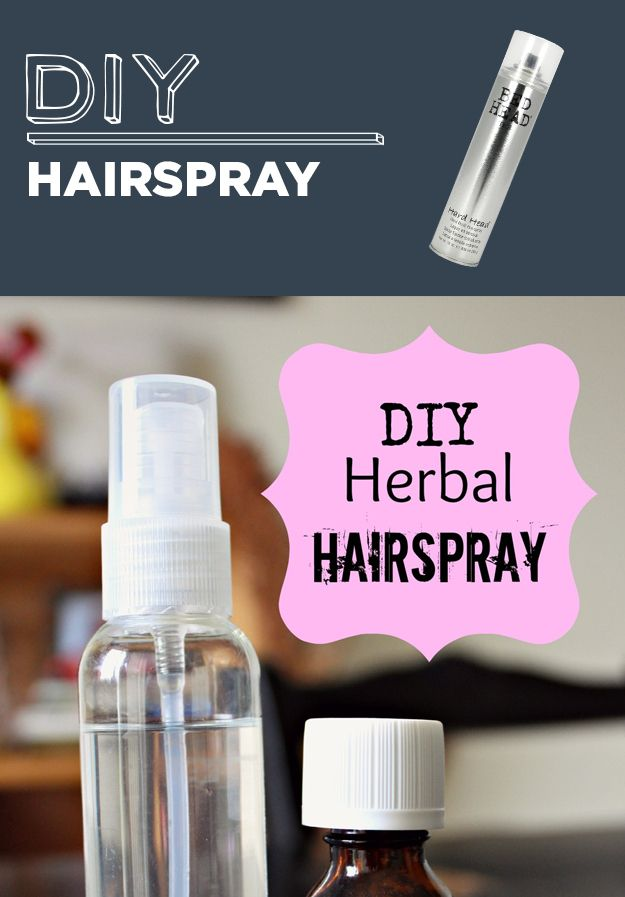 DIY Hairspray-DIY Natural Herbal Hairspray 1 cup hot water 1 1/2 Tbs Sugar (White or Brown)     10-15 drops essential oil- mint, rosemary, any essential oil you like.     Fine mist spray bottle  Direction: Dissolve sugar in hot water. Let mixture cool completely and mix in essential oils (if the water is too hot the essential oils may decrease in smell). Fill spray bottle and its ready to use.  To use: Lightly mist over hair, wait 30 seconds to dry, and reapply if needed.