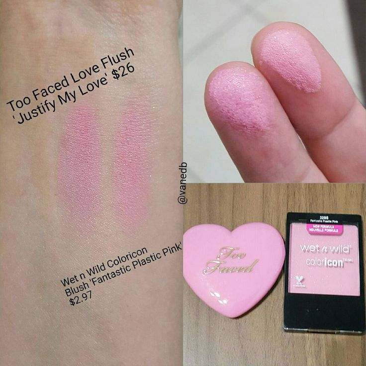 Wet n Wild ColorIcon blush in Fantastic Plastic Pink - dupe for Too Faced Love Flush blush in Justify My Love