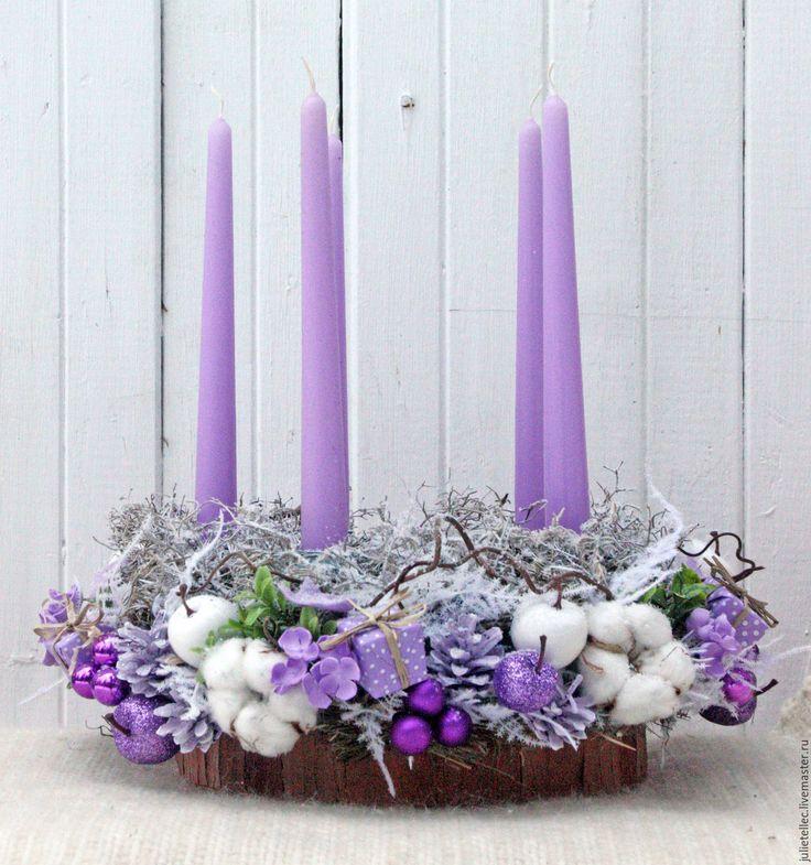 Купить Рождественская композиция - сиреневый, композиция на стол, композиция со свечами, новогодняя композиция