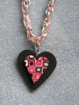 Retro Chic Geometric Pink Black Polymer Clay Valentine's Day Heart Necklace - Two Crafty Mules