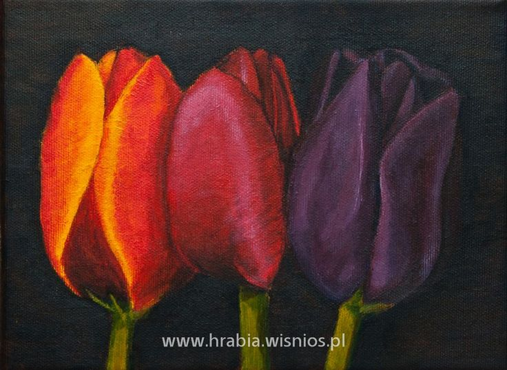 Tulipany 18x24 akryl, płótno, red, orange, fiolet, violet