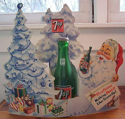 Vintage 1950 S 7up Soda Bottle Display Cardboard Sign