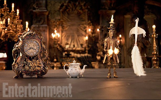 'Beauty and the Beast': See 9 Enchanting, Exclusive Photos | Cogsworth (Ian McKellen), Mrs. Potts (Emma Thompson), Lumière (Ewan McGregor), and Plumette (Gugu Mbatha-Raw) | EW.com