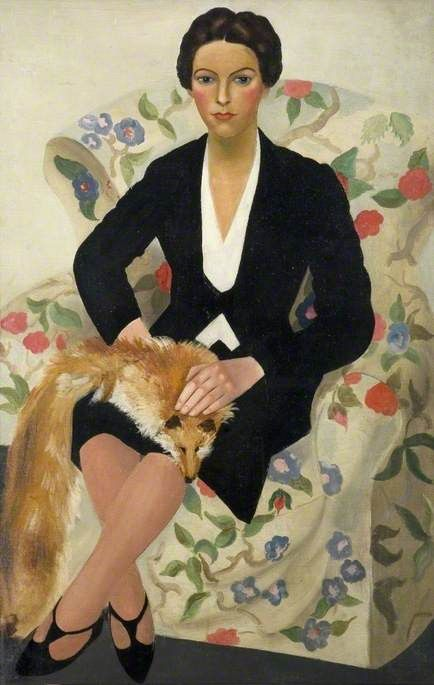 christopher wood(1901-30), mlle bourgoint, 1929. oil on canvas, lady in floral armchair with pet fox