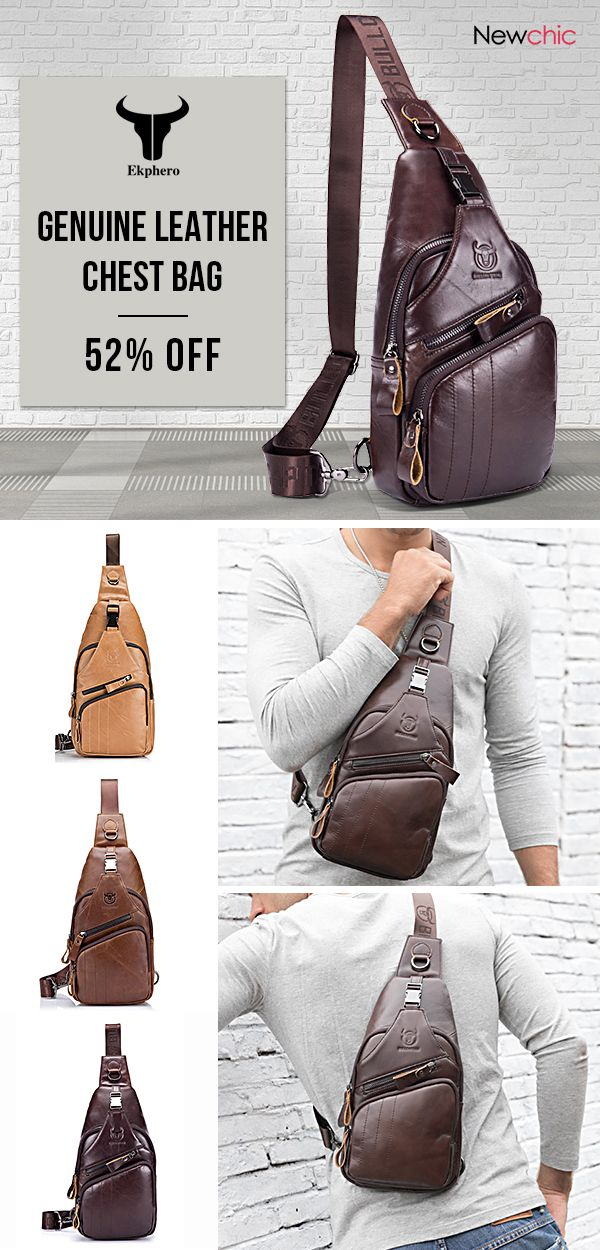 3e0b6f7f49e5 52%off]Bullcaptain Genuine Leather Large Size Chest Bag Sling Bag ...
