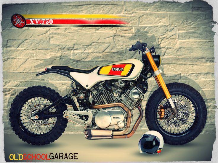 yamaha motor#xv 750#virago#street tracker#scrambler special#old school garage#trieste#https://www.facebook.com/tintarobertomodificamotociclette/