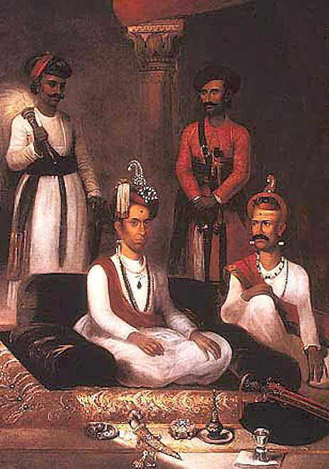 Madhu Rao Narayan the Maratha Peshwa with Nana Fadnavis and attendants Poona 1792.
