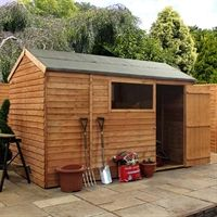 Our 10x6 shed features a reverse apex roof design which is opposite to the average shed, the door being on the side gable instead of front. This is ideal if you require both storage and workspace and is big enough to offer both comfortably. The 10x6 shed is manufactured from overlap cladding, a cheaper alternative to shiplap but offers premium quality still.   The roof is made from sold sheet boarding as well as the floor which enables high pressures to be resisted and the flooring easily…