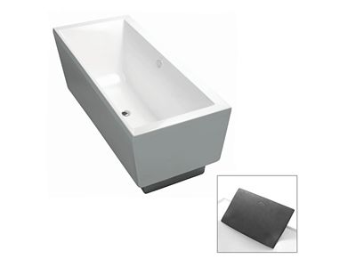 Evok Rectangular Freestanding Bath  Features:    Freestanding acrylic bath (fully reinforced)  Easy installation using drop-in base support system and adjustable feet  Skirt detail  Optional accessory: Evok bath pillow in charcoal