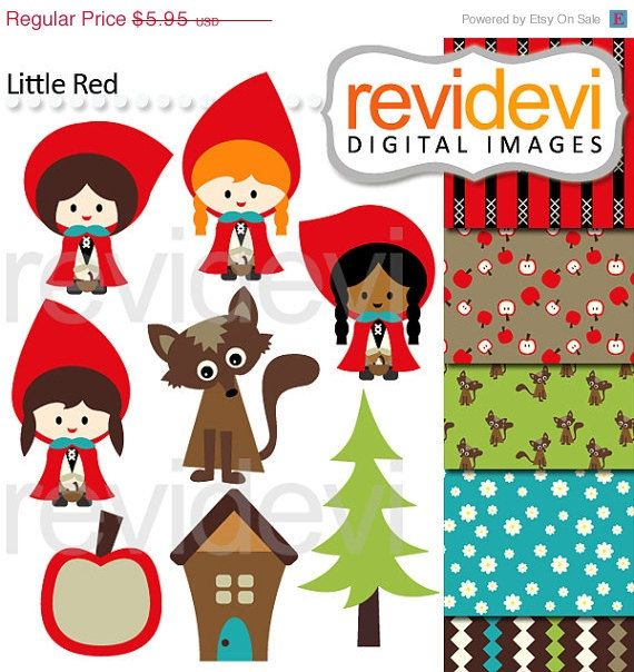 55 OFF Little Red 07494.. Clipart and Digital Paper by revidevi, $2.68
