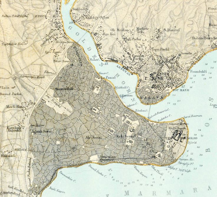 1885 Antique Map of Constantinople