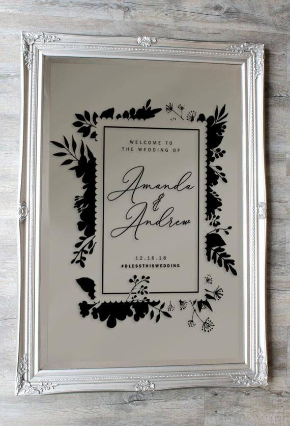 This personalized wedding welcome sign is an excellent way to tell your guests that they have arrived to the biggest day of your lives. This wedding vinyl can be customized to your needs and installed on wood, chalkboard, mirrors and many more surfaces for a temporary (or permanent) wow