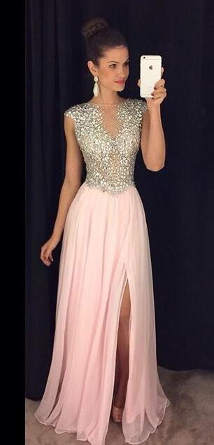 luxurious long homecoming dress evening dress, pink long homecoming dress evening dress party dress