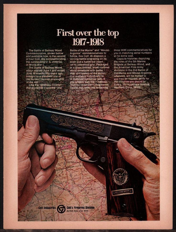 1968 COLT Battle of Belleau Wood Commemorative .45 Pistol AD Advertising #Colt