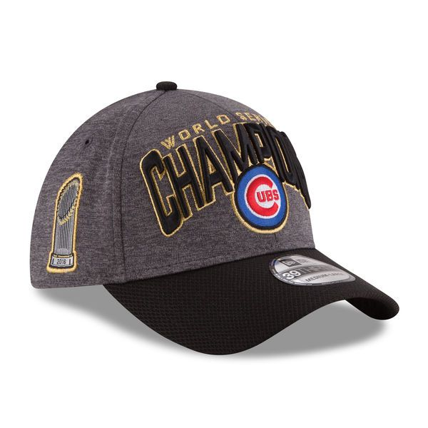 Chicago Cubs New Era 2016 World Series Champions Locker Room On Field 39THIRTY Flex Hat - Graphite/Black-$31.99  http://www.aplussportsandmore-fanshop-baseballfield.com/BaseballHeadGear.html