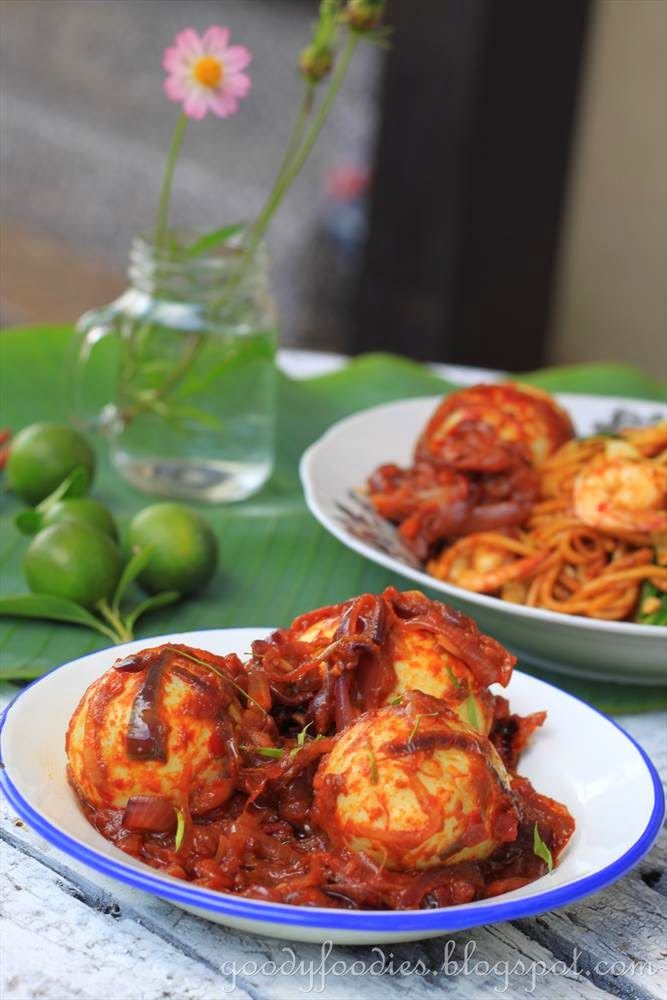 Last week, I cooked mee goreng and as an accompaniment, I also made sambal telur. Sambal telur, also known as egg sambal is a Malay dish wh...