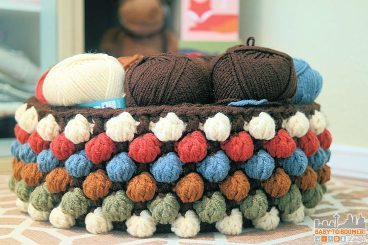 Free Bobble Storage Basket Crochet Pattern - perfect for keeping woodland creatures together for baby or storing yarn. It's a fun way to stay organized.