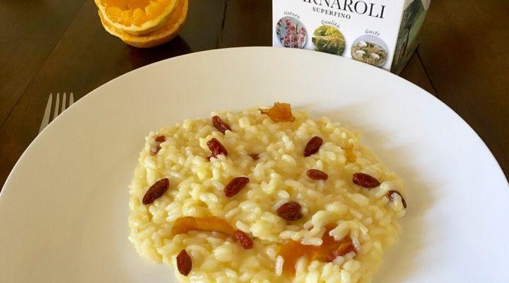 Goji berry Risotto with Taleggio cheese and fresh orange juice