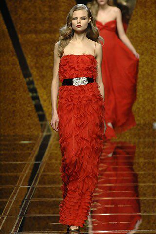 Valentino Fall 2007 Ready-to-Wear Fashion Show Collection Valentino silk chiffon cascade of ruffles evening gown in red, purchased this 10 years after it made it to the runway :))) from TSUM discount in Moscow, on sale for 26500 rubles the original price tag was 529000 rubles which makes it 9120 $ today, hah!