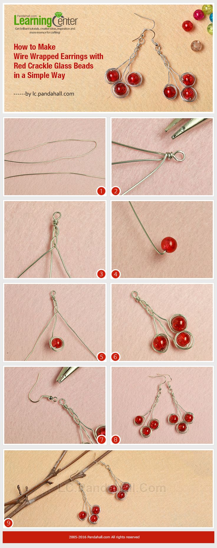 How to Make Wire Wrapped Earrings with Red Crackle Glass Beads in a Simple Way from LC.Pandahall.com
