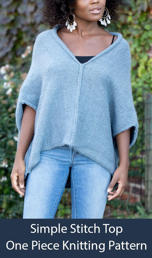Knitting Pattern for Easy One Piece Simple Stitch Top