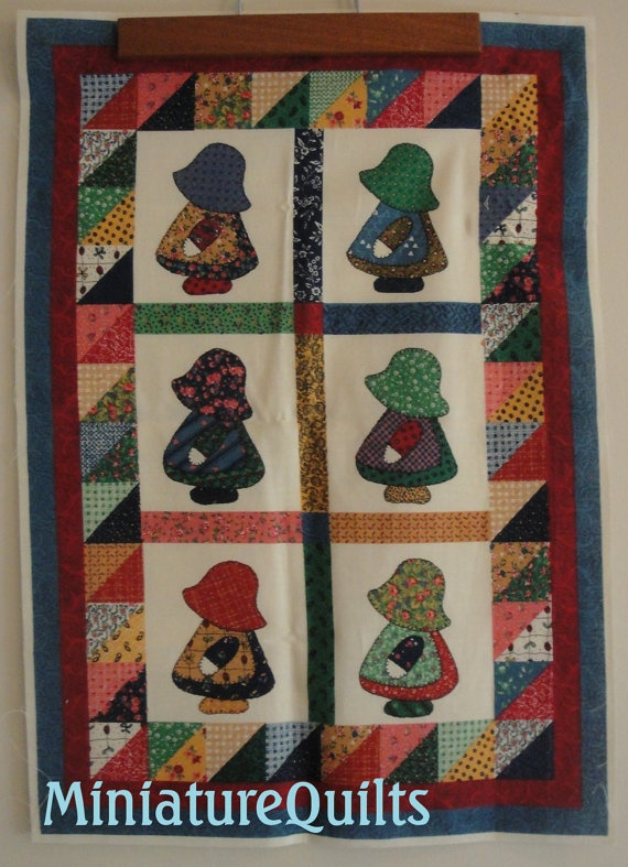 Miniature Sunbonnets Doll Quilt Top Fabric Panel by Little Quilts. $4.95, via Etsy.