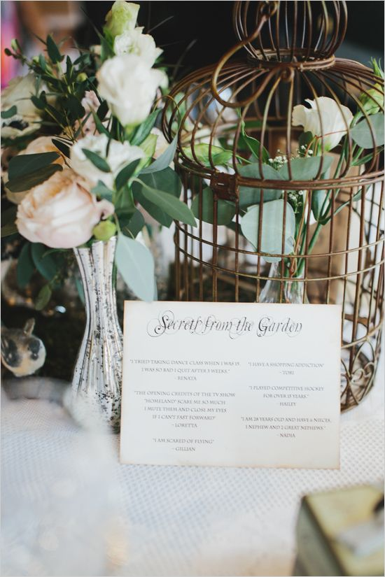 "Garden bridal shower ideas and ""secrets"" about the bridesmaids at each table. #weddingchicks Captured By: Mango Studios http://www.weddingchicks.com/2014/06/25/indoor-garden-party-bridal-shower/"