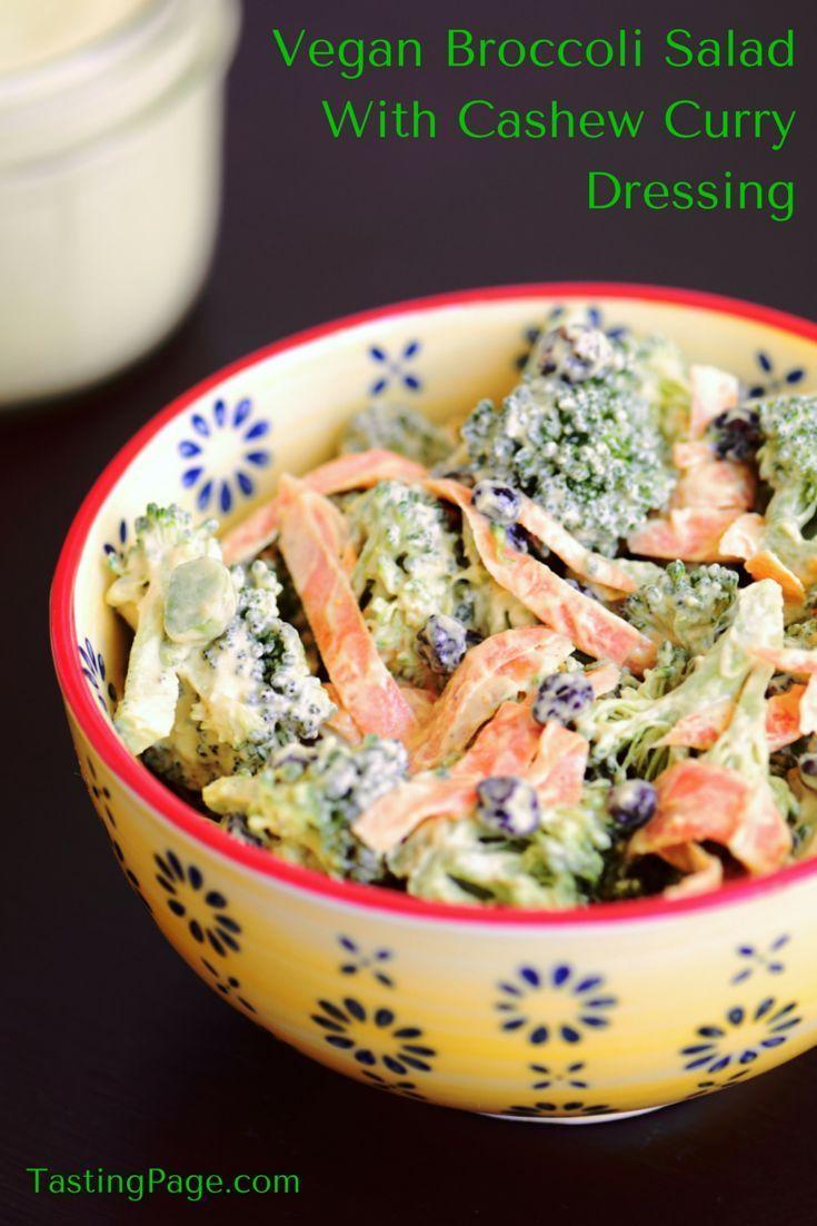 Vegan Broccoli Salad with Cashew Curry Dressing - no dairy added | TastingPage.com