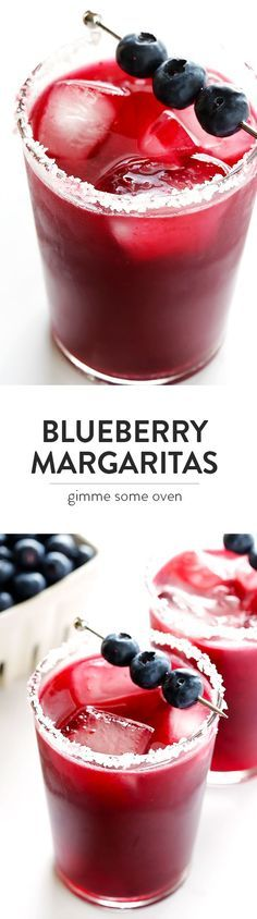 This refreshing blueberry margaritas recipe is sweetened with lots of fresh blueberries, it's quick and easy to make, and always a crowd favorite! | http://gimmesomeoven.com