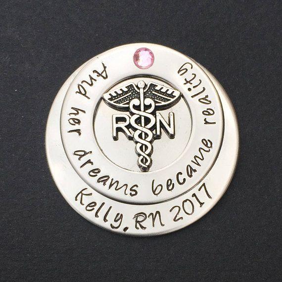 Hand Stamped Pin for RN LPN or Cadeceus  Nurses  Nursing Student   Nursing Pinning Ceremony  RN pin  Lpn Pin  Nursing Graduate #430