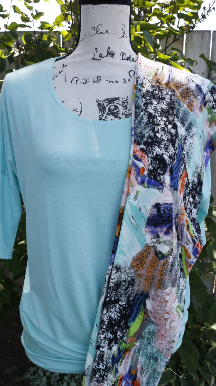 Agnes and Dora Outfit: Dolman Tunic in Peppermint, size S ($30), paired with Santa Monica leggings, size S/M ($22)