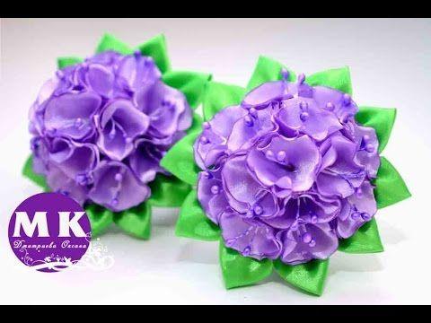 Мастер-класс Канзаши.Цветы Канзаши из атласных лент.Резинка для волос/Scrunchy. Kanzashi flower - YouTube