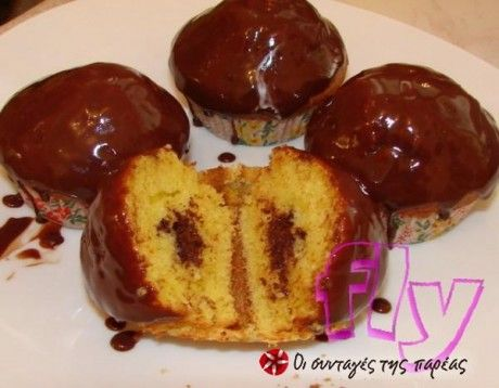 Muffins πορτοκαλιού με γέμιση σοκολάτας