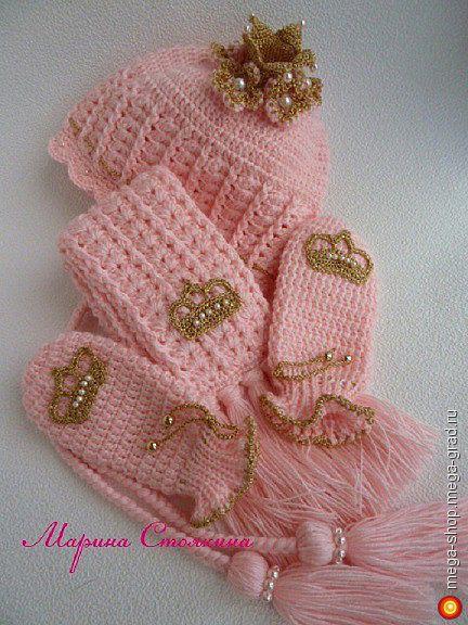 """комплект """"Принцесса-зефирка"""" - вязание и вышивка, плетение, дизайнерская одежда для девочек. МегаГрад - мега-портал авторской ручной работы"""