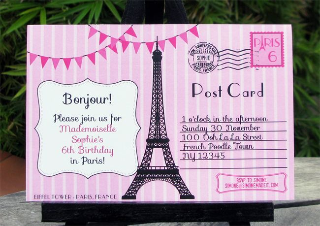 paris invitations birthday | ... Paris inviting the birthday girl's friends to her Birthday Party in
