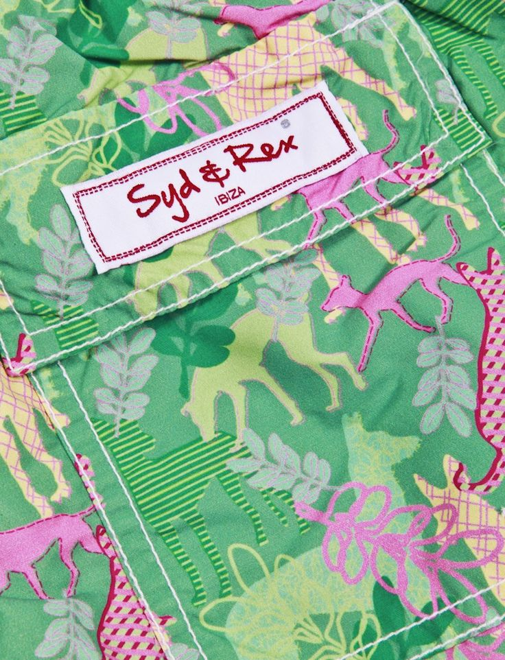Designed by Zoe Brench Syd & Rex Mens Shorts Party Dogs Green