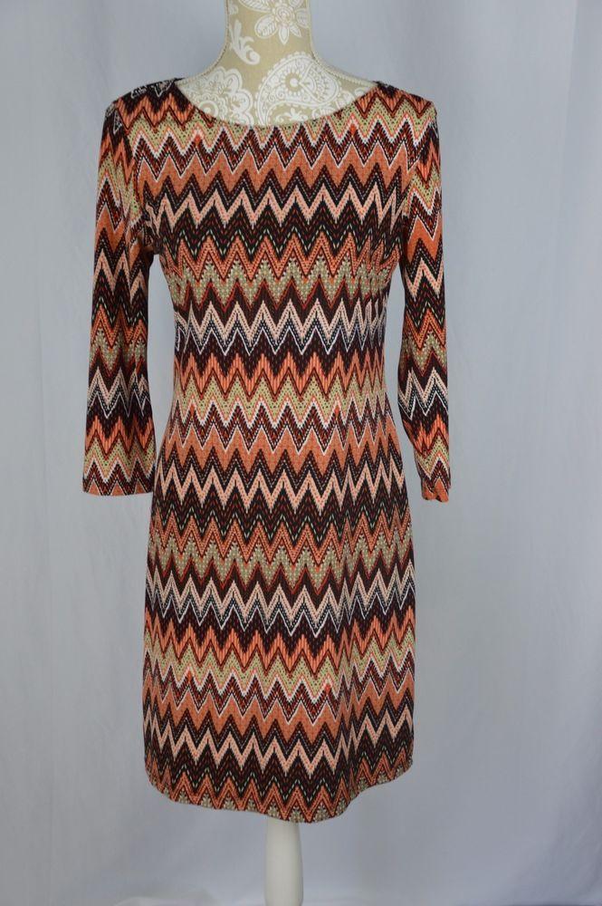 Spense Womens 8 Orange Coral Black Chevron 3/4 Sleeve Knee Length Straight Line #Spense #ShirtDress #Casual