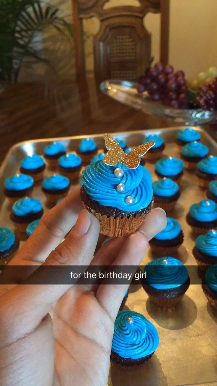 Perfect mini cupcakes for a Cinderella themed bday party. Used with Wilton's cupcake cups and aqua blue pillsbury frosting, and and Etsy butterfly