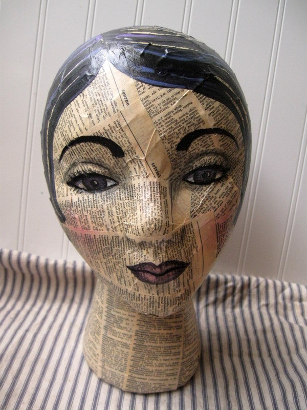 Mannequin Head mixed media Collage and hand painted dictionary text...thinking about old sewing pattern to hold my fancy hat.