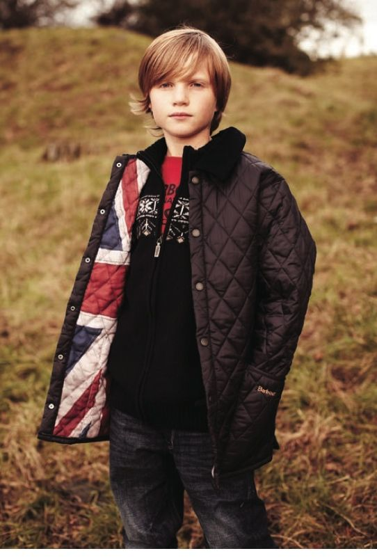 Barbour kids winter 2012 flag linings emphasis the brand's British origins, girls have a floral rose print option