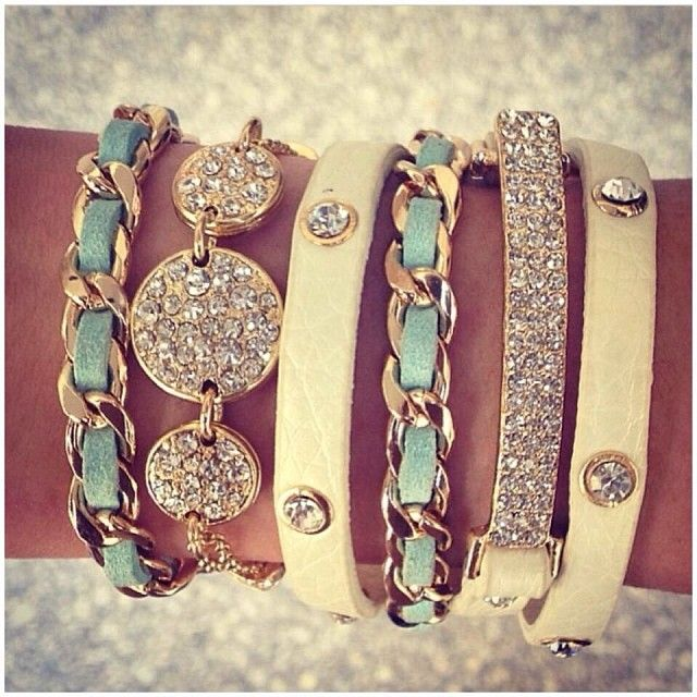 Arm candy. I would wear stuff like this all the time if my wrists weren't so tiny. The bracelets just fall off. So sad :(