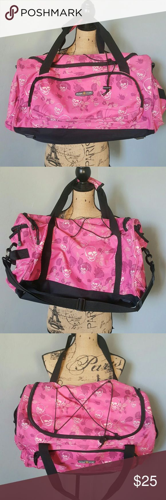 Edgy Pink Skull Duffle Bag Great bag!!!  Very cute. Clean and in great condition. Pacific Coast Bags Travel Bags