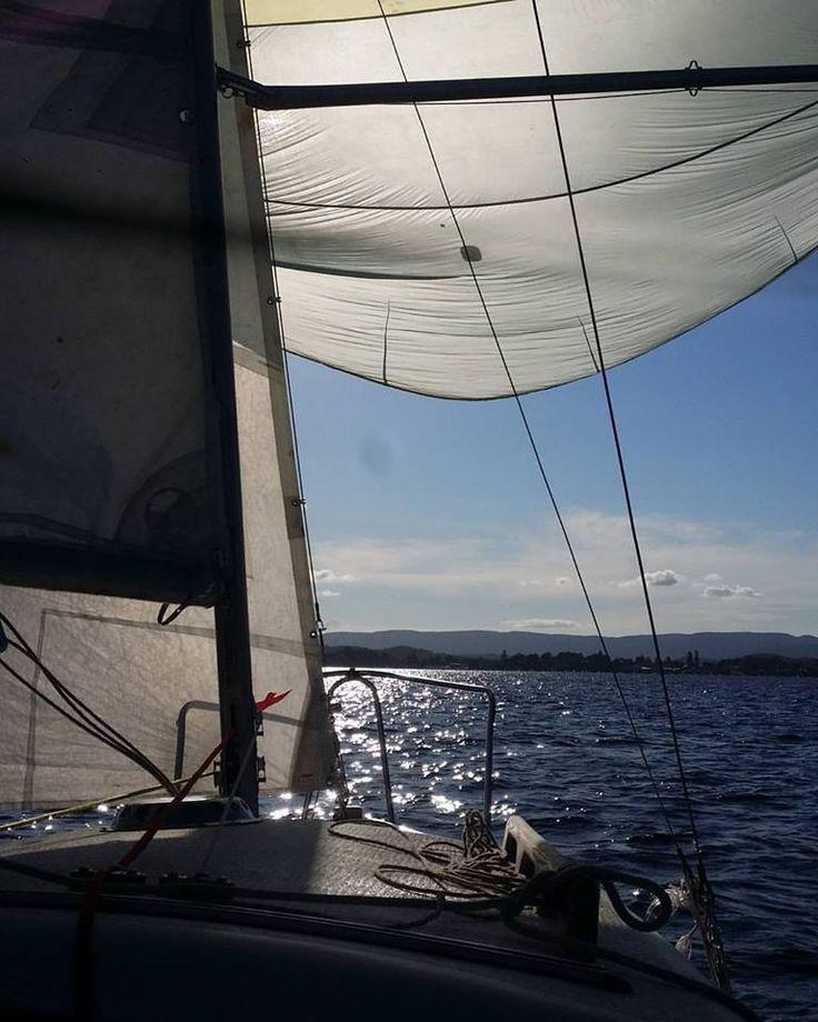 Jim and I sailing SV Marrow on Lake Macquarie, 2016.