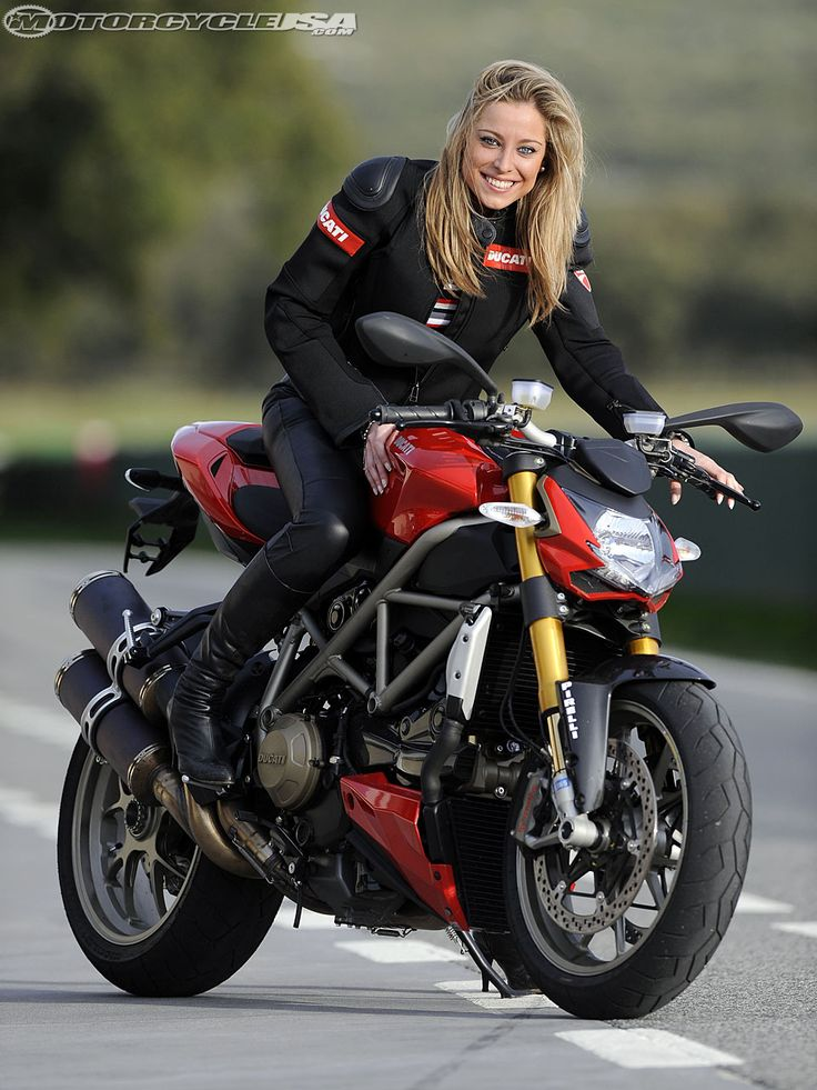 Ducati Streetfighter S... Girls on bikes OMG! And a streetfigher s! Yes please.