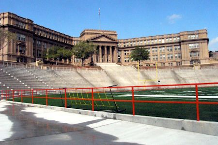 Jones Stadium, El Paso & Cathedral High Schools, El Paso, Texas  This was El Paso High School when I went there...a grand, impressive building and overlooks the city.